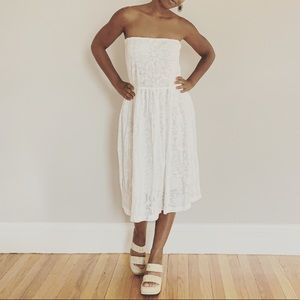Vintage S Adini White Lace Strapless Dress